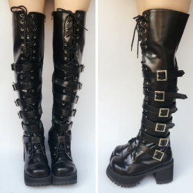 Super Cool Punk Over Knee High Boots