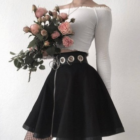 Punk Style O-Ring Zip Up Skirt