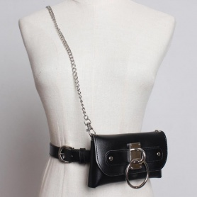 Chain Strap O-Ring Faux Leather Clutch Belt Bag (Available in 5 colors)