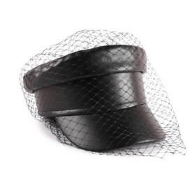Gothic Faux Leather Newsboy Hat with Veil Mesh