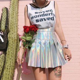 Pastel Colorful A-Line  Pleated Skirt