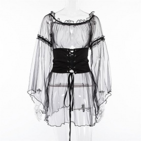 Gothic Sheer Flare Sleeve Lace Up Waist Dress Top