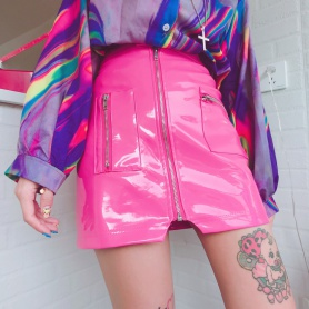Candy Style Zip Front Design PU Skirt