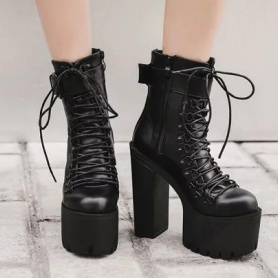 Wiccan Harajuku Lace Up Platform Ankle Boots