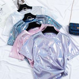 Metallic Short Sleeves Top 7 Colors Available