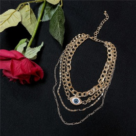 Layered Blue Eye Chain Necklace