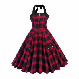 Gothic Red Plaid Rockabilly Pinup Vintage Dress