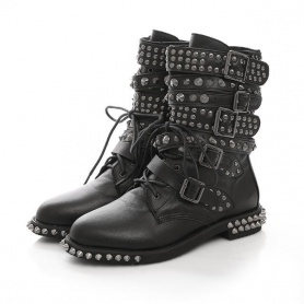 Punk Studded Buckle Boots