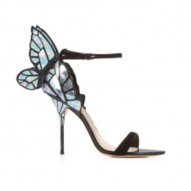 Wings Two Part Ankle Strap Stiletto Leather Heels