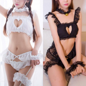 Black/White Heart Hollow Out Lace Lingerie
