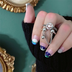 Smile Face Layered Chain Ring