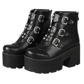 Buckles and Rivets Ankle Platform Boots
