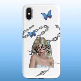 Cool Girl Pattern White Phone Cae For iPhone/HUAWEI