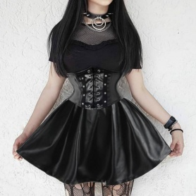 High Waist Corset Faux Leather Black Gothic Skirt