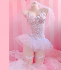 White Sweet Lace Tulle Dress