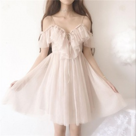 {High Quality} Beige Falbala Laced Tulle Dress