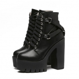 Lace Up High Heels Platform Ankle Boots