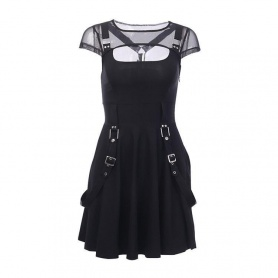 Mesh Hollow Out Buckle Strap Dress