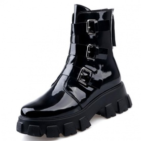 Gothic Cyberpunk Patent/PU Leather Triple Buckle Boots