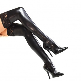Gothic Patent Leather Lace Thigh High Stockings