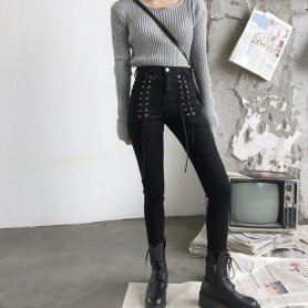 Double Lace Up Skinny Pants