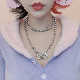 Two Hearts Linked Necklace