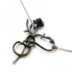 Gothic Wiccan Rose Snake Necklace