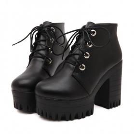 PU Leather Classic Lace Up Ankle Platform Boots