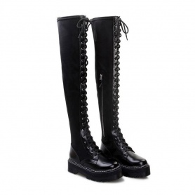 Punk Over The Knee Thigh High Lace Up Boots