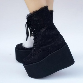 Custom Made Snow Ball Black Lace Shoes
