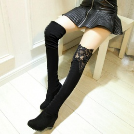 Black Over Knee Lace High Boots