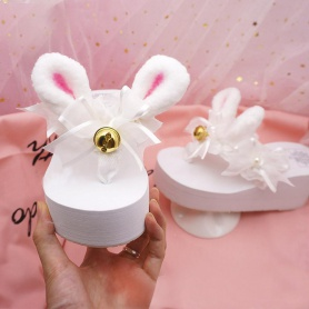 White Sweet Bunny Slippers With Bell