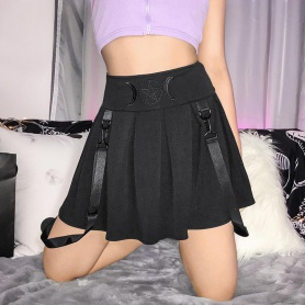 Black Gothic Moon and Star Pleated Skirt