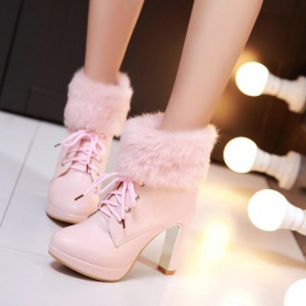 Lace-up Front  Fluffy High Heeled Boots