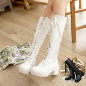 Lace Up  British Style Long Boots