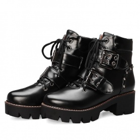 Punk Double Front Buckle Lace Up Boots