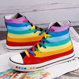 Colorful Striped Rainbow Canvas Shoes