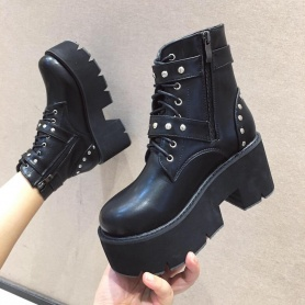 Studded Buckles Lace Up Platform Boots