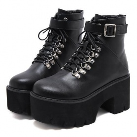 Grunge Lace Up Buckle Chunky Ankle Platform Boots