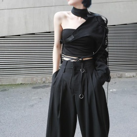 Punk One Sleeve Buckle Outerwear