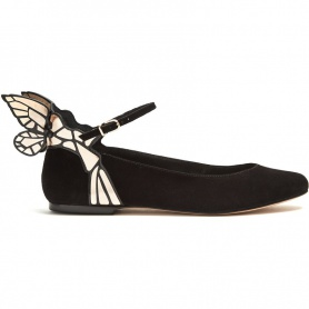 Glod Butterfly Ankle Strap  Leather Flats