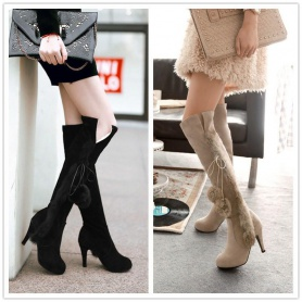 Over The Knee Fluffy Lace-up Side High Heels Boots
