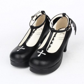 Black Angell Wing And Cross Lolita Princess Shoes