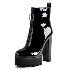 O-Ring Zipper Patent Leather Platform Boots