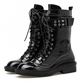 Patent Leather Lace Up Rivet Strap Motorcycle Boots
