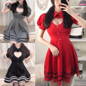Grey/Red/Black Sweet Heart Hollow Out Short Sleeve Dress