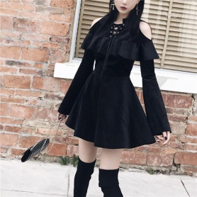 Gothic Laced Off-Shoulder Flare Sleeve Dress