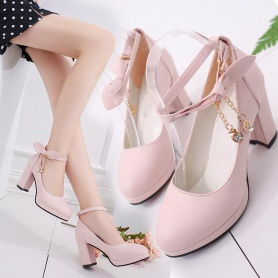 Bow Decor  Ankle Strap Chunky Heels