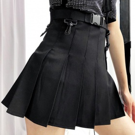 Pleated Mini Skirt with Strap