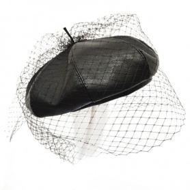 Gothic French Faux Leather Beret with Veil Mesh